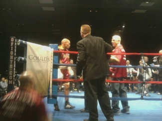 Ron (on far right) and Caleb (on left) before the fight